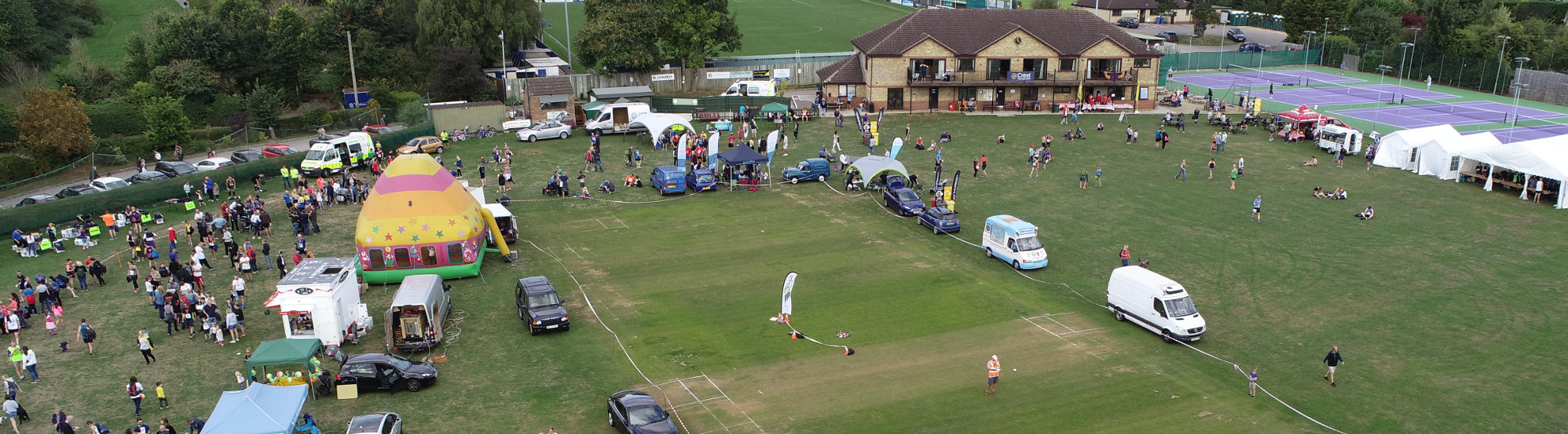 Aerial photograph of the Chippenham Sports Club field at the end of Chippenham Half Marathon