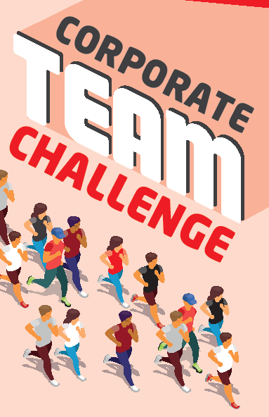 Corporate team challenge and people running